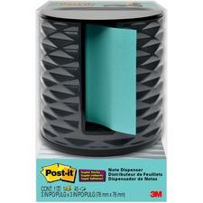 """Post-it® Pop-up Aqua Notes Vertical Dispenser - 3"""" (76.20 mm) x 3"""" (76.20 mm) Note - Dark Gray"""