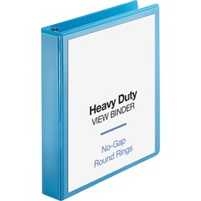 """Business Source Heavy-duty View Binder - 1 1/2"""" Binder Capacity - Letter - 8 1/2"""" x 11"""" Sheet Size - 350 Sheet Capacity - Round Ring Fastener(s) - 2 Internal Pocket(s) - Polypropylene-covered Chipboard - Light Blue - Wrinkle-free, Non-glare, Ink-transfer Resistant, Gap-free Ring, Durable, Exposed Rivet, Heavy Duty - 1 Each"""