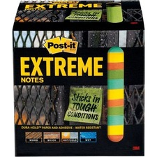"""Post-it® Extreme Notes - 3"""" x 3"""" - Square - 45 Sheets per Pad - Green - Paper - 3 / Pack"""