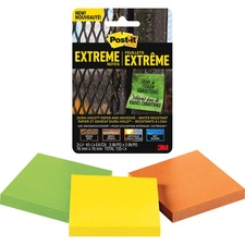 """Post-it® Extreme Notes - 3"""" x 3"""" - Square - 45 Sheets per Pad - Green, Yellow, Orange - Paper - 3 / Pack"""