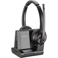 Plantronics Savi 8200 Series Wireless Dect Headset System - Stereo - Wireless - Bluetooth/DECT 6.0 - 590.6 ft - 32 Ohm - 20 Hz - 20 kHz - Over-the-head - Binaural - Supra-aural - Noise Cancelling Microphone - Noise Canceling - Black