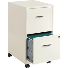 """Lorell SOHO White Mobile File Cabinet - 2-Drawer - 14.3"""" x 18"""" x 27"""" - 2 x Drawer(s) for File, Document - Letter - Casters, Locking Drawer, Glide Suspension, Sturdy, Pull Handle - White - Steel"""