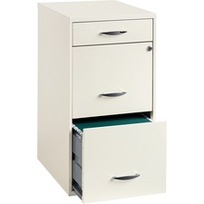 """Lorell SOHO White 3-drawer File Cabinet - 14.3"""" x 18"""" x 27"""" - 3 x Drawer(s) for File, Accessories - Letter - Casters, Locking Drawer, Glide Suspension, Sturdy, Pull Handle - White - Steel"""