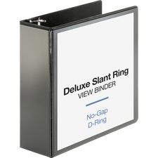 "Business Source Deluxe Slant Ring View Binder - 4"" Binder Capacity - Letter - 8 1/2"" x 11"" Sheet Size - 835 Sheet Capacity - Slant D-Ring Fastener(s) - 2 Internal Pocket(s) - Polypropylene, Chipboard - Black - Durable, PVC-free, Non-stick, Gap-free Ring, Ink-transfer Resistant - 1 Each"