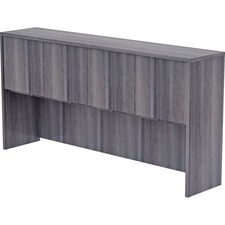 """Lorell Weathered Charcoal Laminate Desking Hutch - 72"""" x 15"""" x 36"""" - Drawer(s)4 Door(s) - Material: Polyvinyl Chloride (PVC) Edge - Finish: Weathered Charcoal Surface, Laminate Surface"""