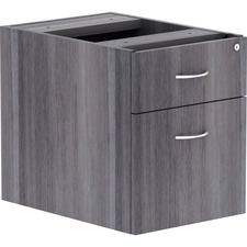 "Lorell Weathered Charcoal Laminate Desking Pedestal - 16"" x 12"" x 28.3"" - Box Drawer(s), File Drawer(s) - Material: Polyvinyl Chloride (PVC) Edge, Steel Ball Bearing - Finish: Weathered Charcoal, Laminate"