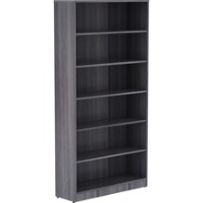 "Lorell Weathered Charcoal Laminate Bookcase - 72"" Height x 36"" Width x 12"" Depth - Thermally Fused Laminate - 1Each"