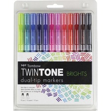 TOM 61500 Tombow TwinTone Brights Dual-tip Marker Set TOM61500