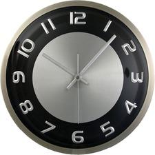 """Timekeeper 11.5"""" Round Wall Clock,Brushed Met - Analog - Quartz - Black, Silver Main Dial - Black/Brushed Metal Case"""