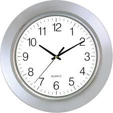"Timekeeper 13"" Wall Clock, Chrome Bezel - Analog - Quartz - Silver/Chrome Case"