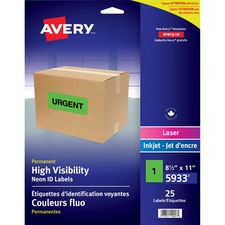 """Avery® High Visibility Neon ID Labels - 8 1/2"""" x 11"""" Length - Rectangle - Inkjet, Laser - Neon Green - Polyester - 25 / Sheet - 25 / Cartridge - 25 / Pack"""