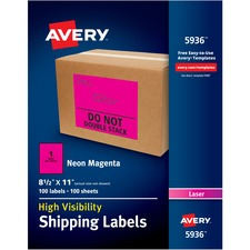 """Avery® High Visibility Neon Shipping Labels - 11"""" Height x 8 1/2"""" Width - Permanent Adhesive - Rectangle - Laser - Neon Magenta - Paper - 1 / Sheet - 100 Total Sheets - 100 Total Label(s)"""