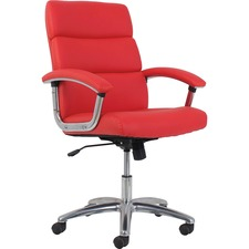 "Basyx by HON VL103 High-Back Leather Executive Chair - Leather Back - Red - SofThread Leather - 19.5"" Seat Width x 19"" Seat Depth - 26.6"" Width x 28.9"" Depth x 42.7"" Height - 1 Each"
