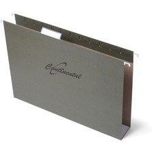 "Continental Letter Recycled Hanging Folder - 8 1/2"" x 11"" - Pressboard - Standard Green - 25 / Box"