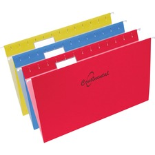 "Continental Legal Size Hanging Folders - Legal - 8 1/2"" x 14"" Sheet Size - 11 pt. Folder Thickness - Red, Blue, Yellow - Recycled - 25 / Box"