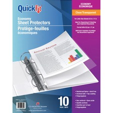 """QuickFit Clear Economy Sheet Protectors - 8.5"""" Width x 11"""" Length - For Letter 8 1/2"""" x 11"""" Sheet - 3 x Holes - Rectangular - Clear - Polypropylene - 10 / Pack"""
