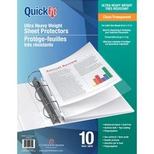 "QuickFit Ultra Heavy Weight Sheet Protectors - 8.5"" Width x 11"" Length - For Letter 8 1/2"" x 11"" Sheet - 3 x Holes - Rectangular - Clear - Polypropylene - 10 / Pack"