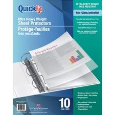 """QuickFit Sheet Protectors - 8.5"""" Width x 11"""" Length - For Letter 8 1/2"""" x 11"""" Sheet - 3 x Holes - Rectangular - Polypropylene - 10 / Pack"""