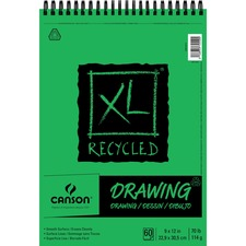 "Canson XL Recycled Drawing - 60 Sheets - Twin Wirebound - 70 lb Basis Weight - 140 g/m² Grammage - 9"" x 12"" - White Paper - Micro Perforated, Removable, Smooth Surface, Acid-free Paper, Erasable - Recycled - 1Each"