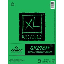 "Canson XL Recycled Sketch - 100 Sheets - 200 Pages - Twin Wirebound - 50 lb Basis Weight - 74 g/m² Grammage - 9"" x 12"" - Micro Perforated, Removable, Smooth Surface, Erasable, Acid-free Paper - Recycled - 1Each"