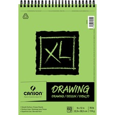 """Canson XL Drawing - 60 Sheets - Twin Wirebound - 70 lb Basis Weight - 114 g/m² Grammage - 9"""" x 12"""" - Micro Perforated, Removable, Erasable, Smooth, Acid-free - 1Each"""