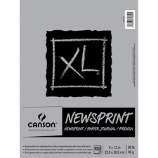 "Canson XL Newsprint - 100 Sheets - Twin Wirebound - 30 lb Basis Weight - 49 g/m² Grammage - 9"" x 12"" - Micro Perforated, Removable, Erasable, Textured - 1Each"