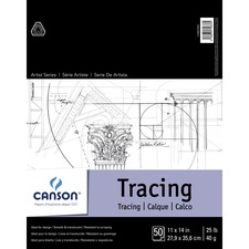 """Canson Foundation Tracing - 50 Sheets - 100 Pages - Twin Wirebound - 25 lb Basis Weight - 40 g/m² Grammage - 11"""" x 14"""" - Translucent, Smooth, Scrap Resistant, Acid-free - 1Each"""