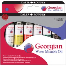 Daler-Rowney Georgian Oil Paint - 20 mL - 6 / Box - French Ultramarine, Titanium White, Viridian Hue, Yellow Ochre, Crimson Alizarin Hue, Cadmium Yellow Hue