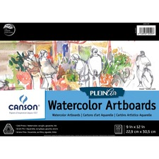"""Canson Plein Air Montval Watercolor Art Board Pad - 10 Sheets - 20 Pages - Glued - 9"""" x 12"""" - Rigid, Acid-free, Heavyweight Cover - 1Each"""
