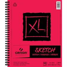 "Canson XL Sketch - 100 Sheets - Twin Wirebound - 50 lb Basis Weight - 74 g/m² Grammage - 9"" x 12"" - Micro Perforated, Removable, Erasable, Smooth, Acid-free - 1Each"