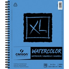 "Canson XL Watercolor - 30 Sheets - 60 Pages - Wire Bound - 140 lb Basis Weight - 300 g/m² Grammage - 9"" x 12"" - Erasable, Acid-free Paper, Micro Perforated, Heavyweight Sheet, Textured - 1Each"
