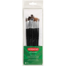 Derwent Academy Artist Brush Set, 8 Pack - 8 Brush(es) - Assorted Wood
