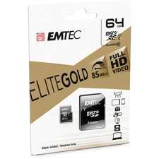 EMTEC Gold+ 64 GB Class 10/UHS-I (U1) microSDXC - 85 MB/s Read - 21 MB/s Write - 1 Year Warranty