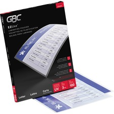 """GBC EZUse Thermal Letter-size 3m Laminating Pouch - Sheet Size Supported: Letter 8.50"""" (215.90 mm) Width x 11"""" (279.40 mm) Length - Laminating Pouch/Sheet Size: 3 mil Thickness - Glossy, Crystal - Jam-free, Fade Resistant, Discoloration Resistant, Alignment Guide, UV Resistant - Clear - 100 / Pack"""