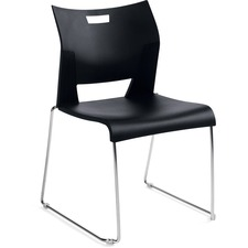 Global Duet Armless Stacking Chair - Black Polypropylene Seat - Black Polypropylene Back - Steel Frame - 1 Each