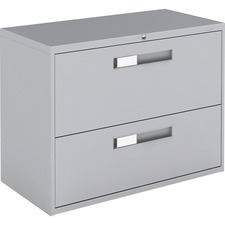 """Global 9300 Series Centre Pull Lateral File - 2-Drawer - 18"""" x 36"""" x 27.1"""" - 2 x Drawer(s) for File - Letter, Legal, A4 - Lateral - Hanging Bar, Interlocking, Anti-tip, Pull Handle, Ball-bearing Suspension, Leveling Glide, Lockable, Durable, Reinforced - Gray - Steel"""