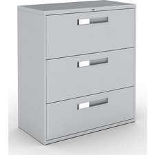 """Global 9300 Series Centre Pull Lateral File - 3-Drawer - 18"""" x 36"""" x 40.5"""" - 3 x Drawer(s) for File - Letter, Legal, A4 - Lateral - Hanging Bar, Interlocking, Anti-tip, Pull Handle, Ball-bearing Suspension, Leveling Glide, Lockable, Durable, Reinforced - Gray - Steel"""