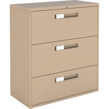 """Global 9300 Series Centre Pull Lateral File - 3-Drawer - 18"""" x 36"""" x 40.5"""" - 3 x Drawer(s) for File - Letter, Legal, A4 - Lateral - Hanging Bar, Interlocking, Anti-tip, Pull Handle, Ball-bearing Suspension, Leveling Glide, Lockable, Durable, Reinforced - Nevada - Steel"""