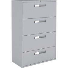 """Global 9300 Series Centre Pull Lateral File - 4-Drawer - 18"""" x 36"""" x 54"""" - 4 x Drawer(s) for File - Letter, Legal, A4 - Lateral - Hanging Bar, Interlocking, Anti-tip, Pull Handle, Ball-bearing Suspension, Leveling Glide, Lockable, Durable, Reinforced - Gray - Steel"""