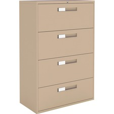 """Global 9300 Series Centre Pull Lateral File - 4-Drawer - 18"""" x 36"""" x 54"""" - 4 x Drawer(s) for File - Letter, Legal, A4 - Lateral - Hanging Bar, Interlocking, Anti-tip, Pull Handle, Ball-bearing Suspension, Leveling Glide, Lockable, Durable, Reinforced - Nevada - Steel"""