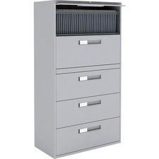 """Global 9300 Series Centre Pull Lateral File - 5-Drawer - 18"""" x 36"""" x 65.3"""" - 5 x Drawer(s) for File - Letter, Legal, A4 - Lateral - Hanging Bar, Interlocking, Anti-tip, Pull Handle, Ball-bearing Suspension, Leveling Glide, Lockable, Durable, Reinforced - Gray - Steel"""