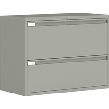 """Global 9300 Series Full Pull Lateral File - 2-Drawer - 18"""" x 36"""" x 27.1"""" - 2 x Drawer(s) for File - Letter, Legal, A4 - Lateral - Pull Handle, Durable, Hanging Bar, Interlocking, Anti-tip, Leveling Glide, Lockable, Ball-bearing Suspension, Welded - Gray"""