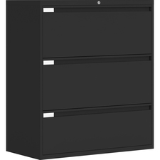 """Global 9300 Series Full Pull Lateral File - 3-Drawer - 18"""" x 36"""" x 40.5"""" - 3 x Drawer(s) for File - Letter, Legal, A4 - Lateral - Pull Handle, Durable, Hanging Bar, Interlocking, Anti-tip, Leveling Glide, Lockable, Ball-bearing Suspension, Welded - Black"""