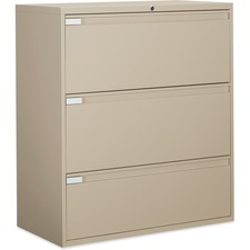 """Global 9300 Series Full Pull Lateral File - 3-Drawer - 18"""" x 36"""" x 40.5"""" - 3 x Drawer(s) for File - Letter, Legal, A4 - Lateral - Pull Handle, Durable, Hanging Bar, Interlocking, Anti-tip, Leveling Glide, Lockable, Ball-bearing Suspension, Welded - Nevada"""