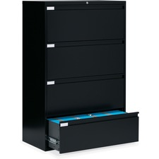 """Global 9300 Series Full Pull Lateral File - 4-Drawer - 18"""" x 36"""" x 54"""" - 4 x Drawer(s) for File - Letter, Legal, A4 - Lateral - Pull Handle, Durable, Hanging Bar, Interlocking, Anti-tip, Leveling Glide, Lockable, Ball-bearing Suspension, Welded - Black"""
