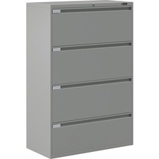 """Global 9300 Series Full Pull Lateral File - 4-Drawer - 18"""" x 36"""" x 54"""" - 4 x Drawer(s) for File - Letter, Legal, A4 - Lateral - Pull Handle, Durable, Hanging Bar, Interlocking, Anti-tip, Leveling Glide, Lockable, Ball-bearing Suspension, Welded - Gray"""