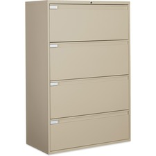 """Global 9300 Series Full Pull Lateral File - 4-Drawer - 18"""" x 36"""" x 54"""" - 4 x Drawer(s) for File - Letter, Legal, A4 - Lateral - Pull Handle, Durable, Hanging Bar, Interlocking, Anti-tip, Leveling Glide, Lockable, Ball-bearing Suspension, Welded - Nevada"""