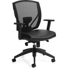 Offices To Go Ibex Synchro-Tilter Chair - Bonded Leather Seat - Black Back - 5-star Base - 1 Each