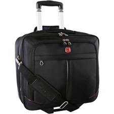 "Holiday Travel/Luggage Case (Suitcase) for 15.5"" Notebook - Black - Bump Resistant, Scratch Resistant - Polyester - Handle, Shoulder Strap - 14.50"" (368.30 mm) Height x 16"" (406.40 mm) Width x 7.50"" (190.50 mm) Depth - 1 Pack"