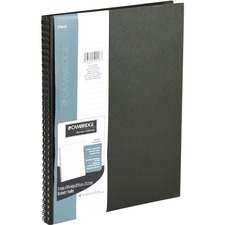 Cambridge Notebook - 80 Sheets - 160 Pages - Twin Wirebound - Ruled - Hard Cover, Perforated, Heavyweight Sheet, Storage Pocket, Textured - Recycled - 1Each